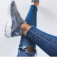 Nike Air Huarache Classic Popular Women Men Running Sports Shoes Sneakers Grey I