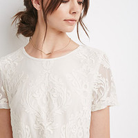 Ornate Embroidered Mesh Top