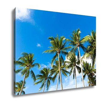 Gallery Wrapped Canvas, Tropical Palm Trees In The Blue Sunny Sky