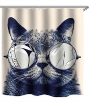 Cat Folding Waterproof Shower curtain Bathroom Curtains For Bathroom