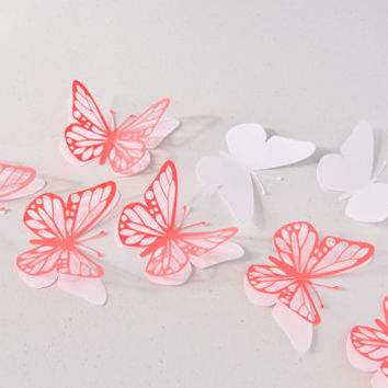 3D Butterfly Wall Decor - 14 Red and White Paper Butterflies - Butterfly Wall Decals - Butterfly Birthday Decor - Butterfly Wall Stickers