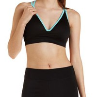 Black Combo Strappy Push-Up Sports Bra by Charlotte Russe