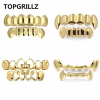 Gold Teeth Party accessories  Grillz Vampire Fangs 14k  Plated Set