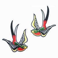 2 PCS Red Swallow Patch Embroidered Punk Iron On Sew On Patches