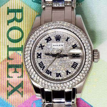Rolex Pearlmaster 29mm 18k White Gold & Diamond Ladies Watch Box/Papers 80339