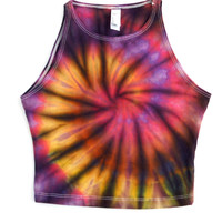 S Sunset Spiral Rain Tie Dye Crop Tank Top Psychedelic Hippie Festival Rave Yoga Crop Top Made in USA