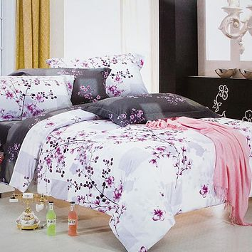 Blancho Bedding - [Plum in Snow] Luxury 5PC Bed In A Bag Combo 300GSM (Twin Size)