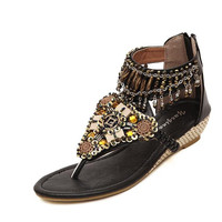 Beaded Bohemia Comfort Beach Black  Flat Sandals