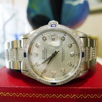MENS ROLEX OYSTER PERPETUAL DATEJUST DIAMOND STEEL 4CT DIAMOND BAND WATCH