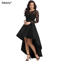 Sikilely Plus Size Women Dresses Long Sleeve Black Lace High Low Part Dress Short Front Long Back Asymmetrical Vestidos Festa