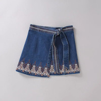 Summer Embroidery High Waist Denim Skirt [6332331844]