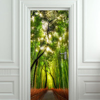 """Door wall sticker cover bamboo forest green trees way 30x79"""" (77x200cm)"""