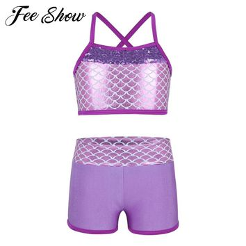 Children Girls Sequins Mermaid Scales Printed Top Bra and Shorts Set for Gymnastics Leotard Dancing Exercise Workout Outfits