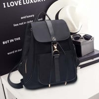 Black Leather Backpack Daypack