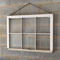 Hanging Vintage 6 Pane Window Frame w/Chain - White, 36 x 27,  Rustic, Wedding, Engagement, Beach Decor, Photos, Pictures, Holiday