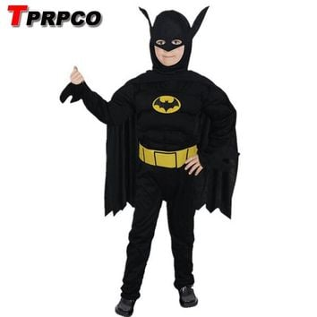 TPRPCO Kids Muscle Dark Knight Batman Child Halloween Party Fancy Dress Boys Superhero Carnival Cosplay Costume NL1211