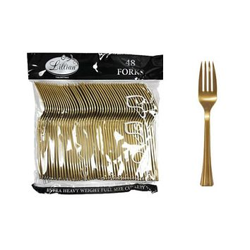 Gold Plastic Forks Cutlery Bags by Lillian - 48-Packs