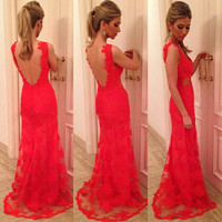 Red Floral Lace Sleeveless Backless Maxi Dress