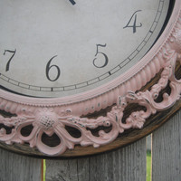Shabby Chic WALL CLOCK in Balllet Pink or Any Color - Ornate - Home Decor