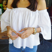 White Bell Sleeve Off Shoulder Loose Fitting Top