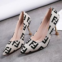 Fendi Fashion New More Letter Pointed Leisure High Heels Shoes Women