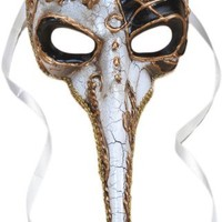 Long Nose Adult Venetian Mask - White w Black & Gold Accents
