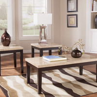 Wilder Faux Travertine Coffee Table Set by Ashley Furniture