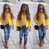 Trendy Toddler Girls Yellow Denim Jacket With Three Quarter Sleeves