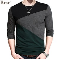 2016 New Plus Size Mens Autumn Casual T-shirt Fashion Slim Long Sleeve V Neck T Shirt Button Decorating Tees / Tops V-neck