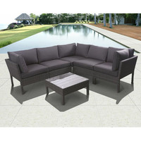 SAVE Infinity 6-Piece Wicker Patio Seating Set with Gray Cushions
