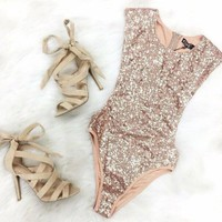 Sequined Triangle Piece Gold Sequins Bodysuit