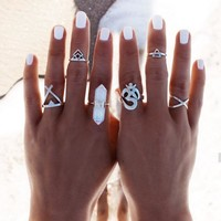 6pcs/Set Vintage Punk Ring Set Hollow Antique Silver Plated Lucky Midi Rings Women Boho Jewelry Gypsy Adjustable Knuckle Ring