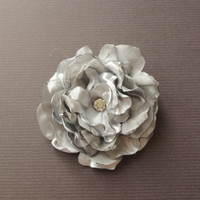 Grey Flower Hair Clip Gray Wedding Hair Accessory Flower Hair Piece Bridal Bridesmaid Flower Hair Grey Wedding Hair Flower Pin