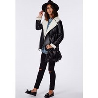 Missguided - Coco Leather Shearling Jacket Black