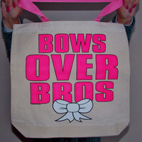 Bows Over Bros Tote Bag. Contrast Handle Tote. Girl Power, Cheer Bag.