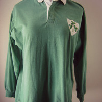 90s green rugby shirt clover patch logo st. patricks day vintage mens large hipster shirt pullover long sleeve rugby jersey preppy top retro