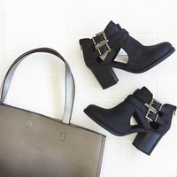 Buckle Up Ankle Boot In Black