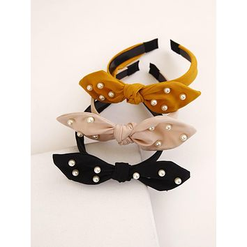 3pcs Faux Pearl Bow Knot Hair Hoop