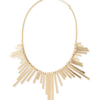 Hammered Golden Reversible Statement Necklace - Panacea - Red