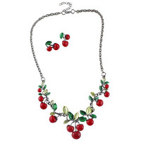 Red Cherry Shape Necklace and Earrings