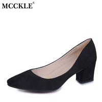MCCKLE Shoes Woman 2017 New Flock Women High Heel Square heel Pointed Toe Med Heel Pumps Shallow Office Work Fashion Women Pumps