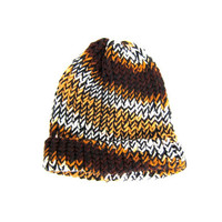 Vintage Chunky Knit Woven Hat Handwoven Hipster Beanie Brown White Black Yellow Winter Stocking Cap Skull Unisex