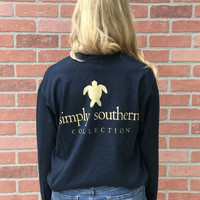 Simply Southern BLACK FRIDAY Turtle Longsleeve- Navy