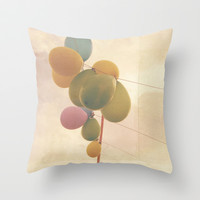The Vintage Balloons Throw Pillow by Hello Twiggs