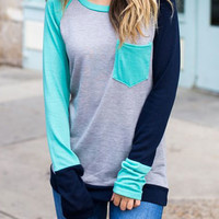 Color Block Pocket Long Sleeve Baseball T-Shirt - Bellelily