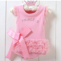 Hot Sales!Nice Baby Girls Kid Bodysuit Princess Ballet Top Suit Dress One-piece 0-24Months Free Shipping