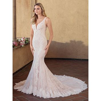 Casablanca 2330 Chloe Deep V-Neck Illusion Beaded Lace Fit-and-Flare Wedding Dress