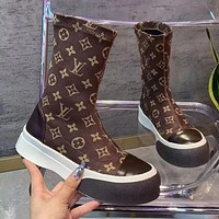 LV Louis Vuitton Martin boots women autumn and winter mid-tube print plus velvet thick-soled Chelsea short boots Shoes