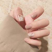 24Pcs Fashion Fake Nails Khaki White Pink Marble Square Artificial Nail Tips with Glue Sticker for Office Home Faux Ongle