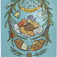 Sleepy Heap Wood Limited Edition Print 11 by 14 by cuddlefishpress